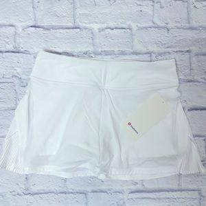 NWT Lululemon Play Off Pleats White Skirt 8 REGULAR LENGTH
